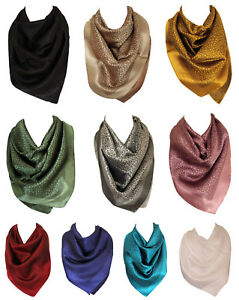 Autumn Leaves Print Silk Feel Square Bandana Neck Scarf Head Scarves for Women