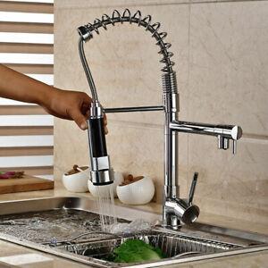 Kuechenarmatur-Wasserhahn-Kueche-mit-herausziehbarer-Dual-Spuelbrause-360-verchromt