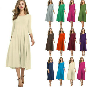 Women-Long-Sleeve-O-neck-Plains-Long-Maxi-Dress-Casual-Swing-Skater-Midi-Dresses