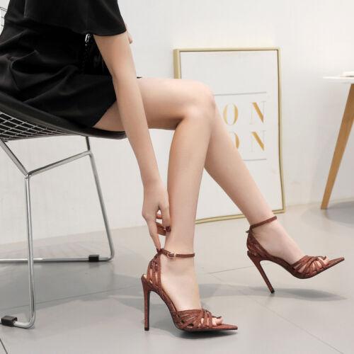 Cm Marrone Simil Glitter Spillo Stiletto Sandali Eleganti 12 Pelle Tacco 1568 qawHtEcxf