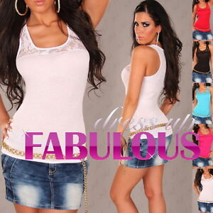 NEW-SEXY-WOMENS-LACE-TOP-PARTY-CASUAL-EVENING-SINGLET-SHIRT-BLOUSE-6-8-10-XS-S-M