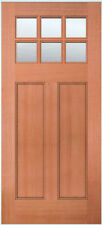 Exterior Entry Mahogany Craftsman Flat Panel Solid Stain Grade 6 Lite Wood Doors