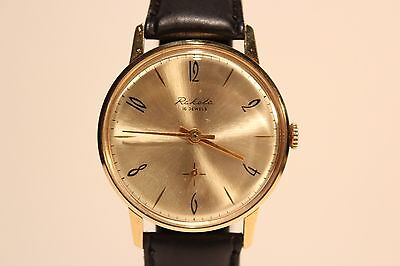 "VINTAGE USSR RUSSIA NICE CLASSIC GOLD PLATED MEN'S WATCH ""RAKETA"" /GOLDEN  DIAL"