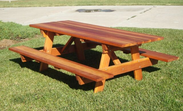 Best Redwood 5ft Picnic Table With Attached Benches