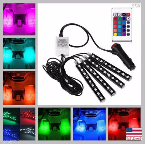 US RGB LED Glow Interior Car Lamp Kit Under Dash Foot Well Seats Inside Lighting