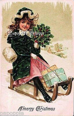 Christmas Fabric Block Vintage Victorian Girl Sledding