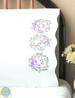 Embroidery Kit Design Works Cute Flower Cats Floral Pillowcase Pair T232036