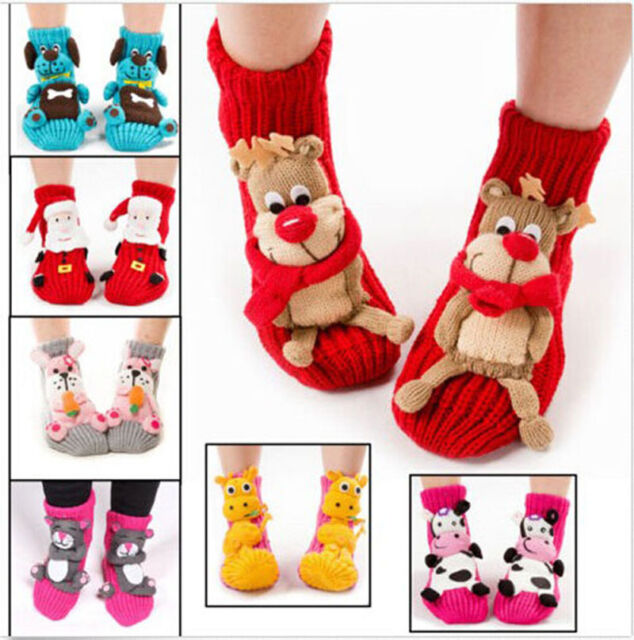 2017 Cute Women's Wool knit Santa Socks Warm Soft Slipper Socks Christmas GIFT