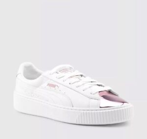 pretty nice 8fec6 a7f19 Details about NEW Puma Basket Platform Metallic Pink Toe White Sneakers  Women's Size US 8.5