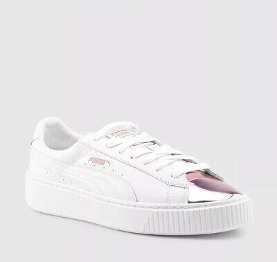 NEW Puma Basket Platform Metallic Pink Toe White Sneakers Women's Size US 8.5 | eBay
