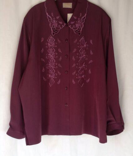 Las nuevas señoras Más Tamaños 28-30 Bordado Corte Cuello Blusa De camisa de mangas largas