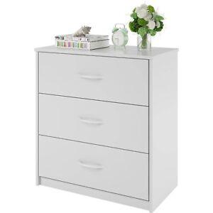 Dresser Drawer Chest Bedroom Furniture Storage Wood Cabinet 3 Drawers Modern White  sc 1 st  eBay & Dresser Drawer Chest Bedroom Furniture Storage Wood Cabinet 3 ...