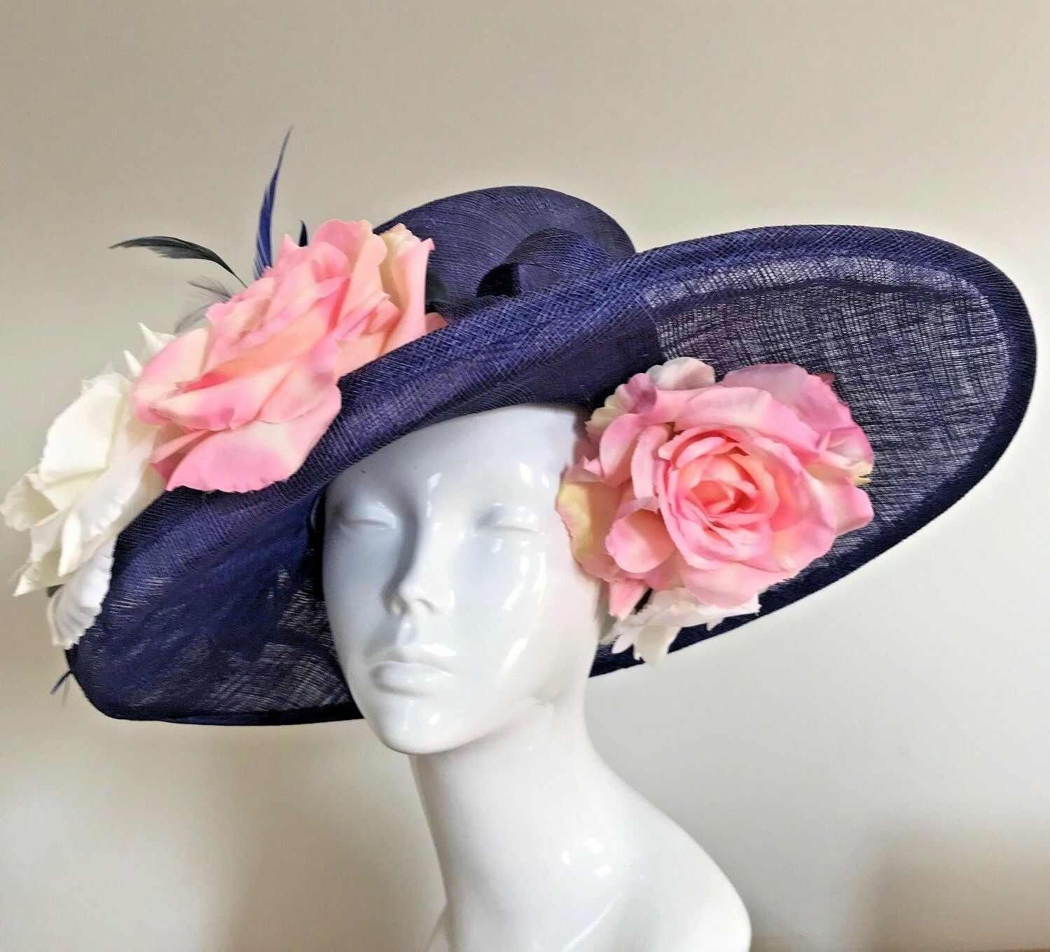 Exclusive Blue Designer Millinery by Hat Couture Wedding Bridal Racing Ascot Hat