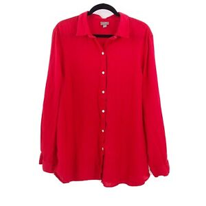 J. Jill Size Large Tall  Red Long Sleeve Easy Shirt Tunic Blouse Linen