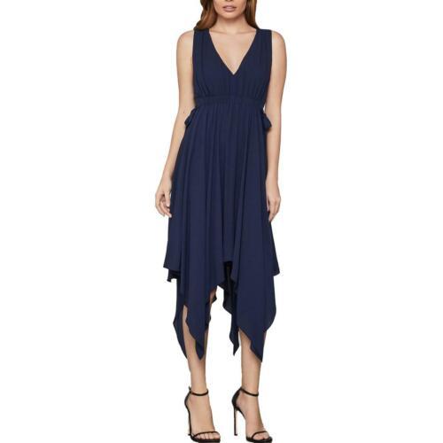 BCBG Max Azria Womens Sleeveless Handkerchief-Hem A-line Midi Dress