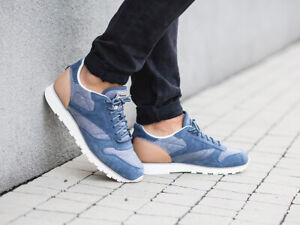 Reebok-Men-039-s-Classic-Leather-Fleck-Trainers-Running-Shoes-AQ9722-Blue