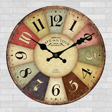 Wall Clock Wooden Rustic Retro Shabby Chic Home Kitchen Decor Art Gifts #22