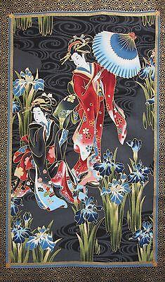 Japanese Cotton Fabric Kona Bay Panel Geisha Charm Lady Water Iris Parasol