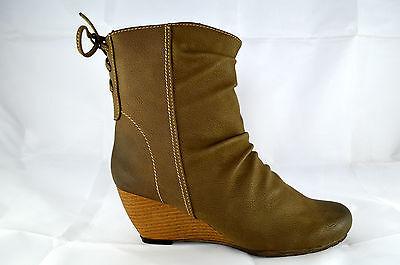 Damen Schuhe Stiefeletten Boots Stiefel Keilabsatz Reißverschl Schnürschuhe A.63