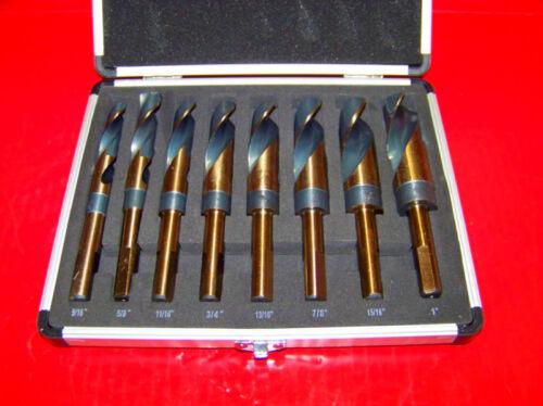 """8 pc Jumbo Argent et Deming Industrial Cobalt Drill Bit Set 1//2/"""" Réduit Tige"""