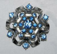 Vintage Coro Light Blue Rhinestone & Baguette Dome Pin