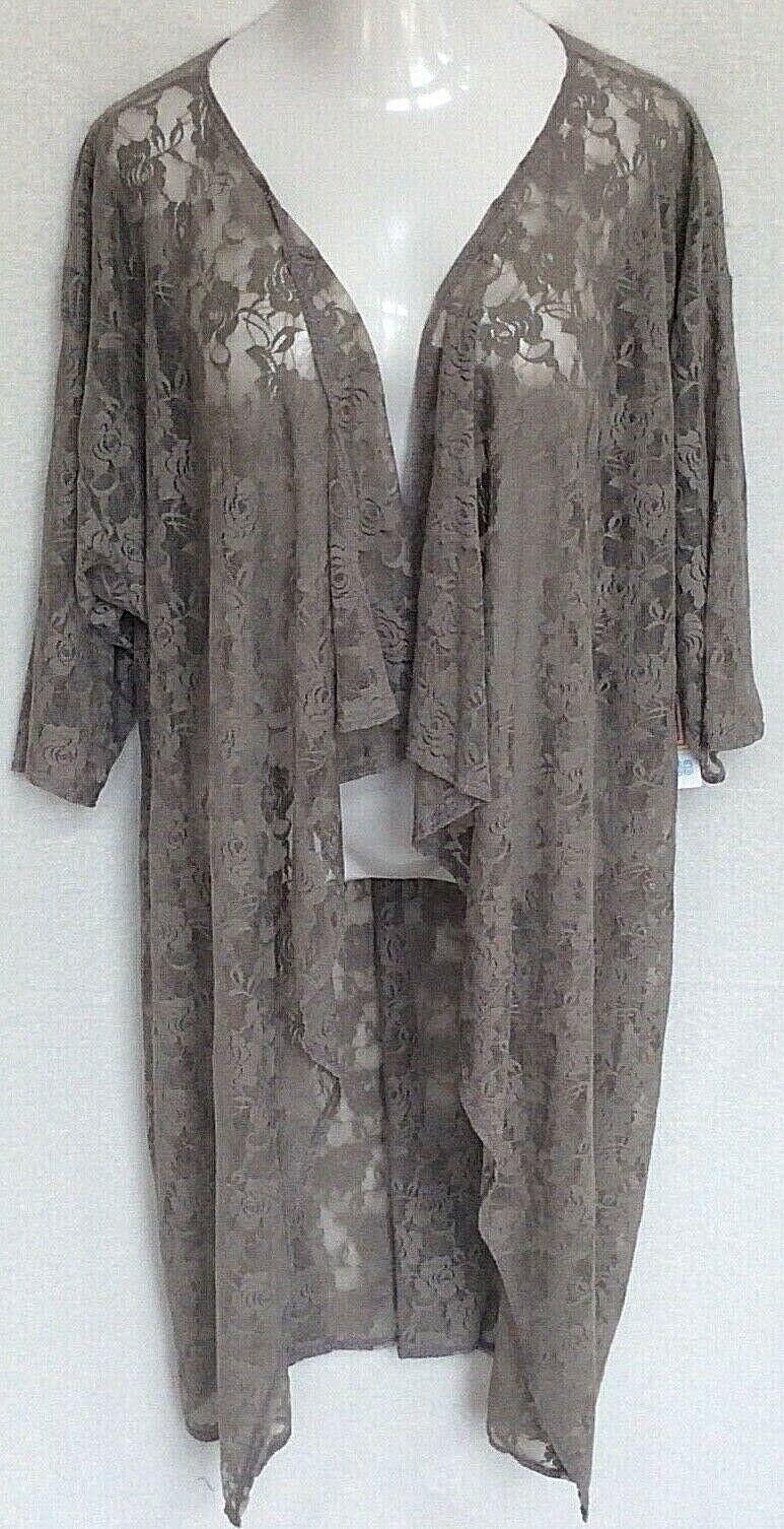 Lularoe Shirley Kimono grau Taupe Floral Lace Größe Groß