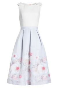 500753056 Ted Baker Light Grey Gilith Chelsea Bow Shoulder Pleated Midi Dress ...