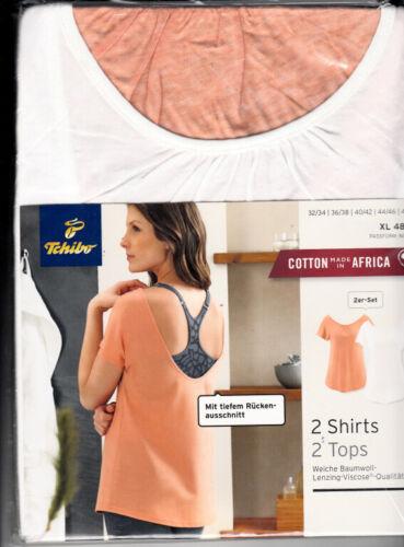OVP XL 48//50 Tops in Weiß und Apricot in Gr TCM Tchibo 2er Set  Shirts