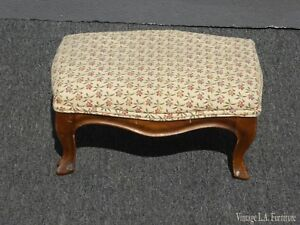 Vintage-French-Country-Provincial-Tan-Floral-Footstool-Made-in-Italy