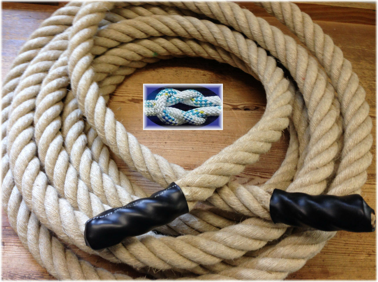 10 Meter Fitness Tau, Schlagseil, 35mm NATURHANFSEIL, Seil Training, battle rope