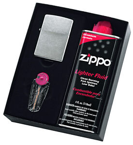 NEW-Zippo-207-Street-Chrome-Lighter-with-118ml-Fluids-amp-Flints-Gift-Boxed-90210