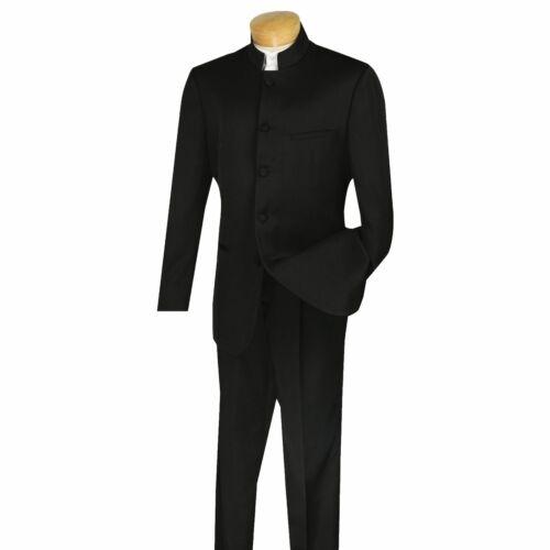 VINCI Men/'s Black Banded Collar 5 Button Classic Fit Tuxedo Suit NEW