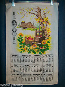 Vintage-Calendar-1981-Material-Barn-Apples-Kitchen-Yellow-Green-Free-USA-Ship