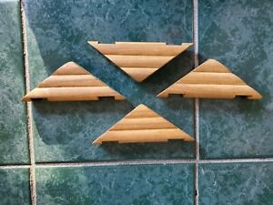"""Lincoln Logs Lot of 4 Wood Roof Pieces 4-3//4/"""" Long Brown 2 Notch Triangle Parts"""