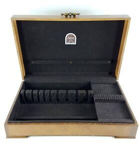 Vintage-NAKEN-039-S-Sterling-Silverplate-Wood-Flatware-Chest-Service-of-12-PLUS