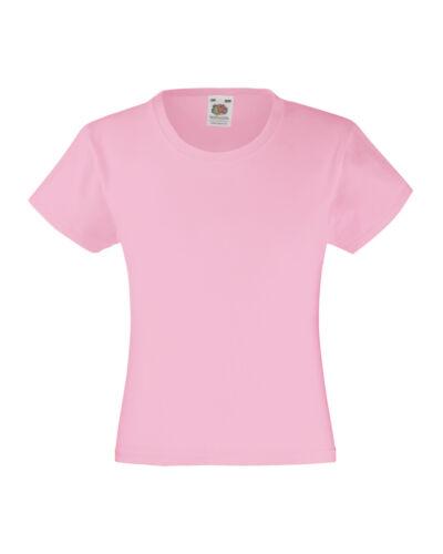 Childrens Girls T-shirt Fruit of the Loom Original Thé 100/% Cotton ss77b
