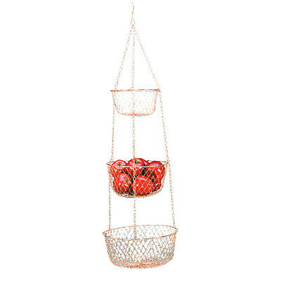 Fox Run 3 TIER Hanging VEGETABLE Fruit KITCHEN Storage WIRE BASKET ~ COPPER