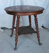 Antique Quarter sawn Oak Parlor Lamp Table – claw ball feet