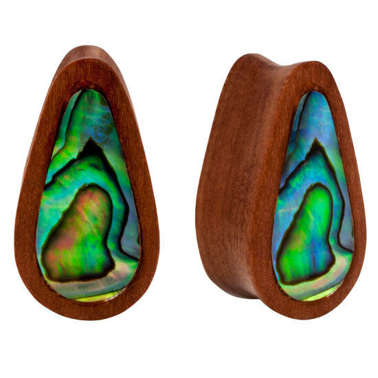 PAIR ORGANIC Abalone Inlay & Sawo Wood Double Flared Unique Oblong Plugs Flesh