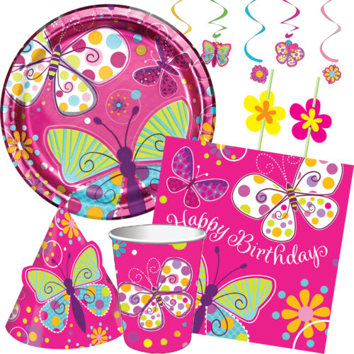 Girl BUTTERFLY SPARKLE Birthday Party Range Tableware Decorations Supplies