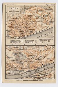 1904 ORIGINAL ANTIQUE MAP OF THORN TORUN COPERNICUS POLAND