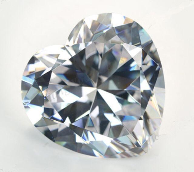 10X10MM 5.42CT AAAAA White Zircon Gem Heart Faceted Cut VVS Loose Gemstone