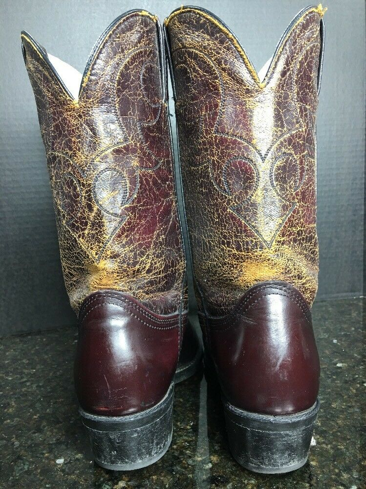 DURANGO Size 8.5D Leather Men's Cherry Red Leather 8.5D BRUSH-OFF Embroidered Western Boots 600e25