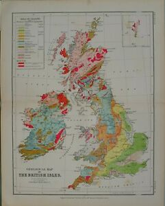 1880-MAP-GEOLOGICAL-BRITISH-ISLES-TRIASSIC-COAL-MEASURES-RED-SANDSTONE-CAMBRIAN