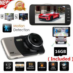 "4/"" HD 1080P Front/& Rear Dual Lens Car Dashboard DVR Camera Video Recorder UK"