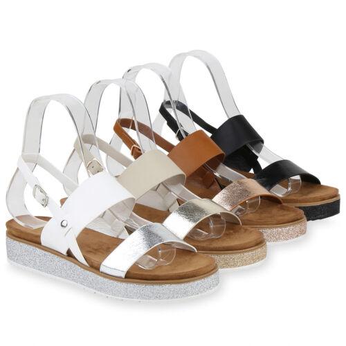 Damen Plateau Sandaletten Glitzer Sandalen Sommerschuhe Metallic 833995 Schuhe