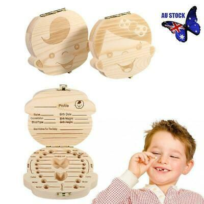 Boys /&Girls Fairy Tooth Box Organizer Wood Collect Case for Baby Milk Teeth Save