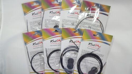 Knitpro Replacement Cable, Black, includes end caps & key, sizes 40 - 200cm