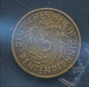 German-Empire-Jagerno-308-1923-D-very-fine-5-Rentenpfennig-spikes-7875277