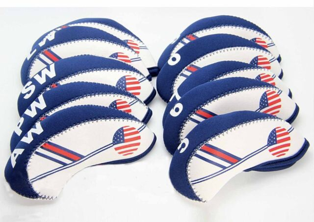 f2925100b10 NEW 10 pcs Golf Head Cover Club Iron HeadCovers Protect set Neoprene US USA  Flag